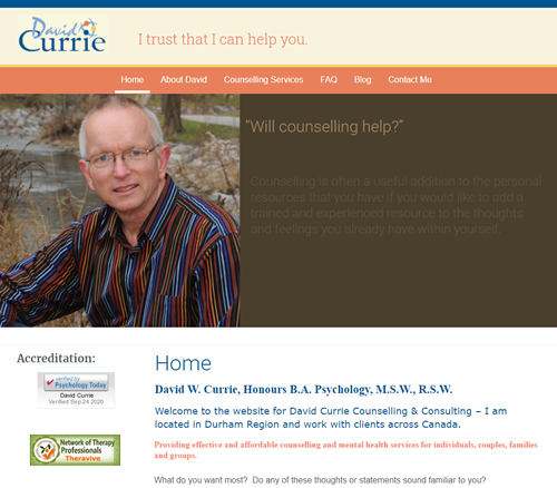 David Currie Counselling - Whitby Ontario
